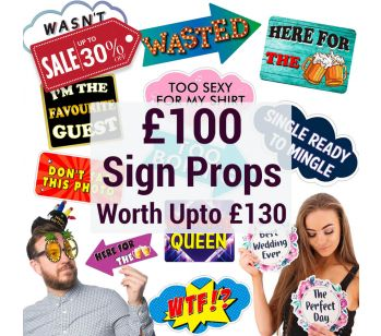Photo Booth Sign Props Multi-pack Worth Up to £130