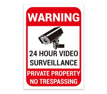 'WARNING' '24 HOUR VIDEO SURVEILLANCE' Warning Sign. Tough, Durable and Rust-Proof Weatherproof PVC Sign for Outdoor Use, 297MM X 210MM. No 021