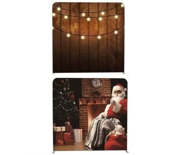 8ft*8ft Lights on Rustic Wood & Santa Claus Scene Backdrop, With or Without Tension Frame