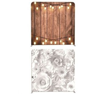 8ft*8ft Mixed White Flowers and Rustic Wood with Lights Backdrop, With or Without Tension Frame