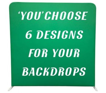 Custom Pillowcase Tension Frame and 3 Double-Sided Backdrops