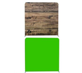8ft*8ft Green Screen and Rustic Wood Backdrop, With or Without Tension Frame