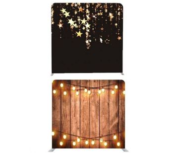 8ft*7.5ft Rustic Wood with Fairy Lights and Black with Gold Falling Stars Backdrop