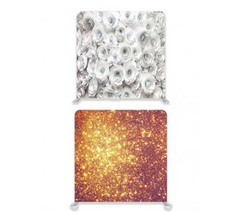 8ft*8ft Gold Glitter Effect and White Roses Backdrop, With or Without Tension Frame