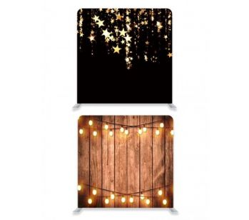 8ft*8ft Wood with Fairy Lights and Black with Gold Falling Stars  Backdrop, With or Without Tension Frame