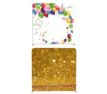 8ft*7.5ft Gold Sparkly Sand and Balloon Party Scene Backdrop, With or Without Tension Frame