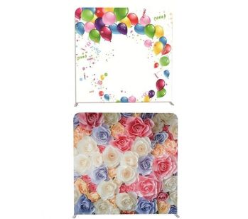 8ft*8ft Balloon Party Scene and Pretty Coloured Flowers Backdrop, With or Without Tension Frame