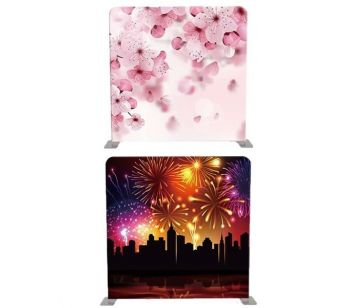 8ft*7.5ft Pink Cherry Blossom and Firework City Scene Backdrop, With or Without Tension Frame