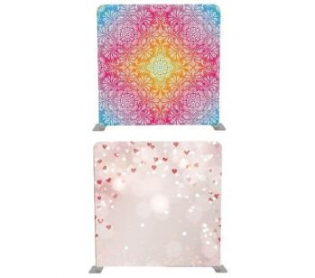 8ft*8ft Coloured Mandala Flowers and Little Pink Hearts Backdrop, With or Without Tension Frame