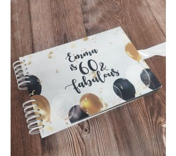 Personalised Elated Celebratory Black Gold Balloons Confetti Guestbook with Different Page Style Options