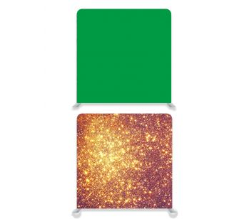 8ft*7.5ft Green Screen and Gold Glitter Backdrop, With or Without Tension Frame