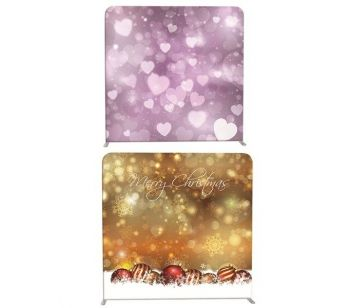 8ft*8ft Merry Xmas Scene & Purple Love Hearts Backdrop, With or Without Tension Frame