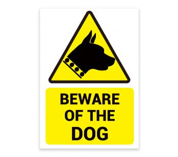 'BEWARE OF THE DOG' Warning Sign. Tough, Durable and Rust-Proof Weatherproof PVC Sign for Outdoor Use, 210MM X 148MM. No 017