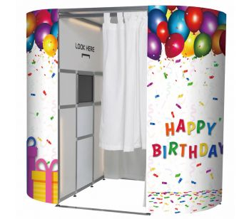 Colourful Balloons & Confetti Happy Birthday Photo Booth Panels Skins