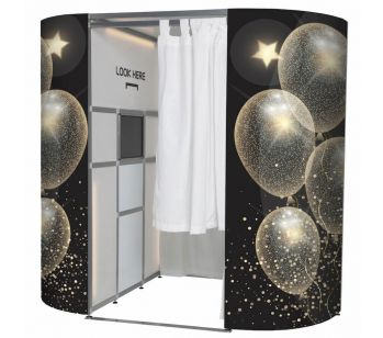 Black And Gold Celebration Balloon Design Photo Booth Panel Skins