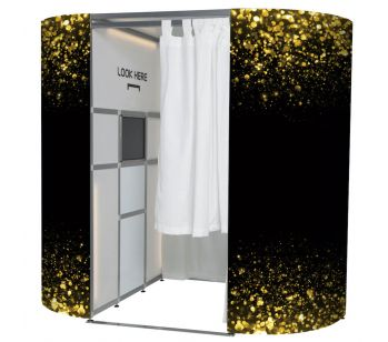 Black with Gold Glitter Detail Photo Booth Panels Skins