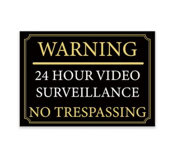 Our stand-out Black And Gold 'WARNING' '24 HOUR VIDEO SURVEILLANCE' warning signs are confident and bright way of informing trespassers of secure areas. Message includes a 'WARNING' '24 HOUR VIDEO SURVEILLANCE' in Black, White and Gold colours.