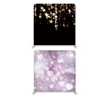 8ft*8ft Purple Hearts and Black With Gold Falling Stars Double-Sided Backdrop With or Without Tension Frame