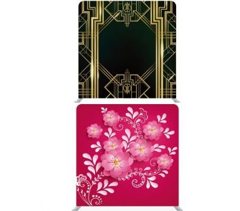8ft*8ft 1920's Black and Gold Gatsby Theme with Pink 3D Flowers Backdrop, With or Without Tension Frame
