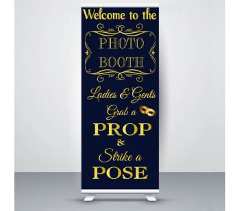 Blue & Gold Photo Booth Roller Banner