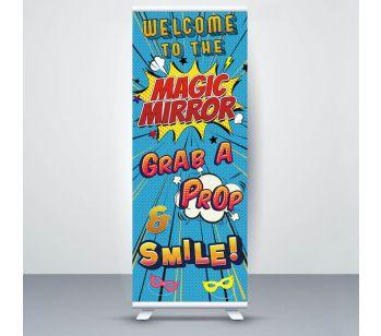 Blue Pop Art Comic 'Magic Mirror' Roller Banner