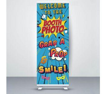 Blue Pop Art Comic 'Photo Booth' Roller Banner