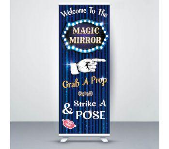 Blue Showbiz Glitzy Curtain 'Magic Mirror' Roller Banner