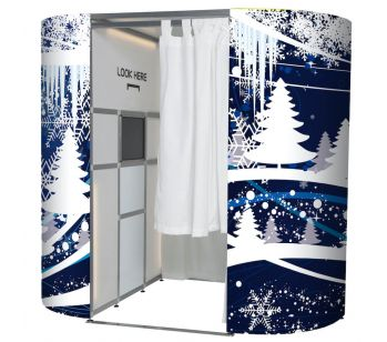 Blue & White Snowy Forest Christmas Photo Booth Panels Skins
