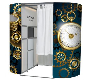 Blue Steampunk Style Clocks Photo Booth Panel Skins