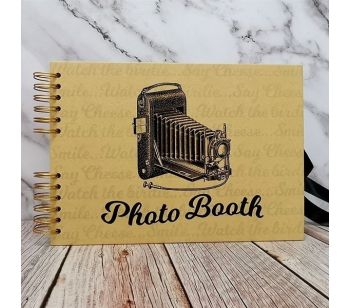 Good Size, Brown Photo Booth Style Guestbook with Printed Pages