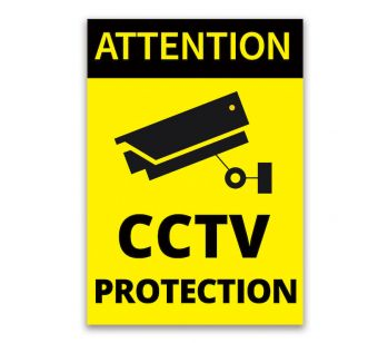 'ATTENTION', 'CCTV PROTECTION' Sign, Tough Durable Rust-Free Weatherproof PVC Sign