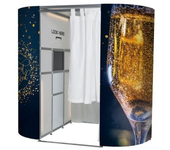 Champagne 'Just Married' Photo Booth Panels Skins