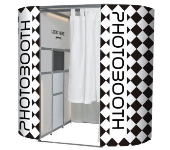 Black & White Checkerboard Photo Booth Panel Skins