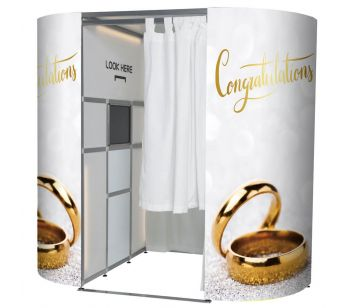 'CONGRATULATIONS' GLITZY GOLD WEDDING RINGS PHOTO BOOTH PANELS SKINS