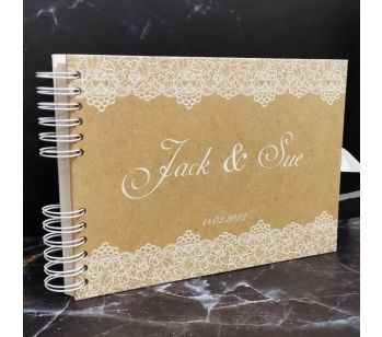 Personalised Classic Brown Design with White Lace Detail Guestbook with Different Page Style Options