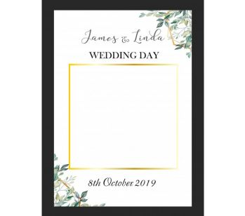 CUSTOM White, Gold and Green Floral Design Fully Printed Posing Frame