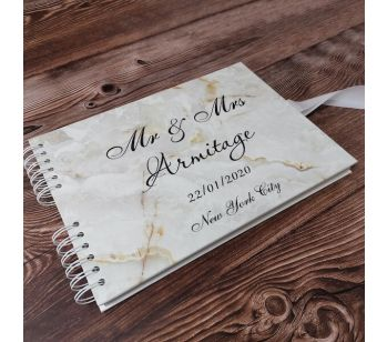 Personalised Gold Marble Detail Guestbook with Different Page Options