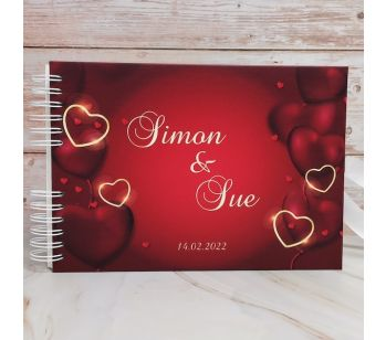 Personalised Red and Gold Love Heart Guestbook with Different Page Style Options