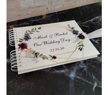 Personalised Watercolour Flowers and Gold Frame Guestbook with Different Page Options