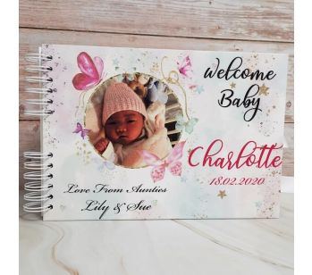 Personalised White & Pink Butterfly Baby Shower Book with Different Page Options