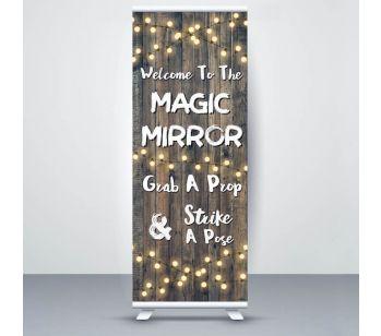 Dark Rustic Wood With Fairy Light 'Magic Mirror' Roller Banner