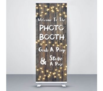 Dark Rustic Wood With Fairy Light 'Photo Booth' Roller Banner