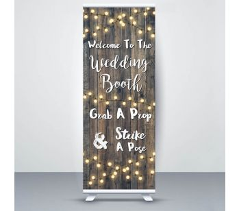 Dark Rustic Wood With Fairy Light 'Wedding Booth' Roller Banner