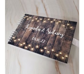 Personalised Dark Rustic Wooden Warming Fairy Lights Guestbook with Different Page Style Options