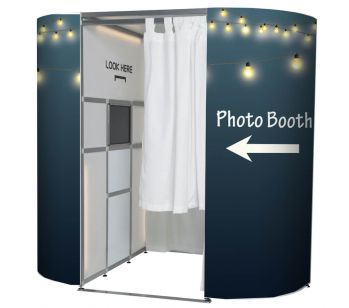 Blue With String Fairy Lights Photo Booth Panel Skins