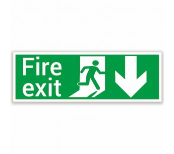 fire exit safety sign below