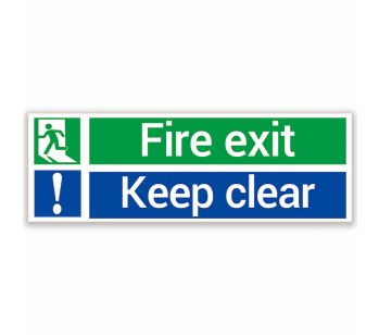 fire exit and keep clear saftey sign