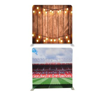 8ft*8ft Football Stadium and Rustic Wood With Fairy Lights Backdrop, With or Without Tension Frame
