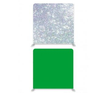8ft*8ft Green Screen and Silver Glitter Effect Backdrop, With or Without Tension Frame