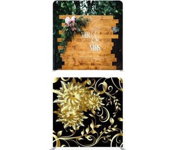 "8ft*8ft Gold Chrysanthemum Flower on Black and ""Mr and Mrs"" Rustic Wood with Floral Bouquet Double Backdrop"
